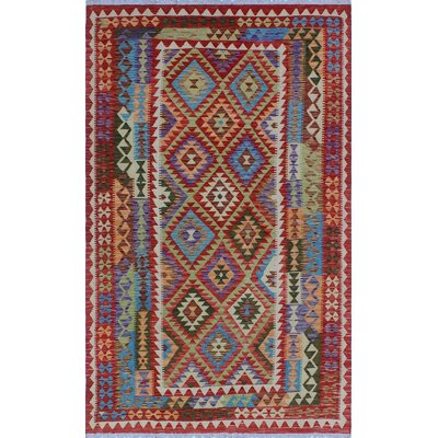 One-of-a-Kind Kratzerville Kilim Charles Hand-Woven Wool Red Area Rug