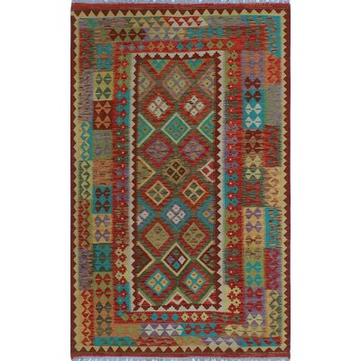 One-of-a-Kind Kratzerville Kilim Frankie�Hand-Woven Wool Red Area Rug