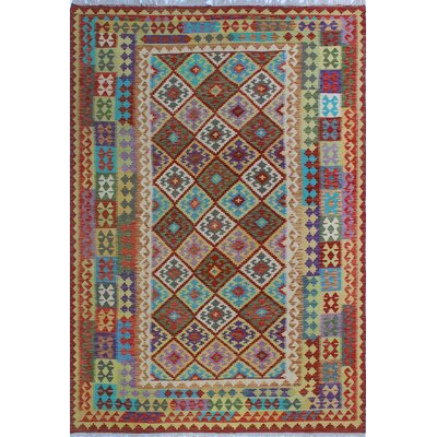 One-of-a-Kind Kratzerville Kilim Jude Hand-Woven Wool Red Area Rug