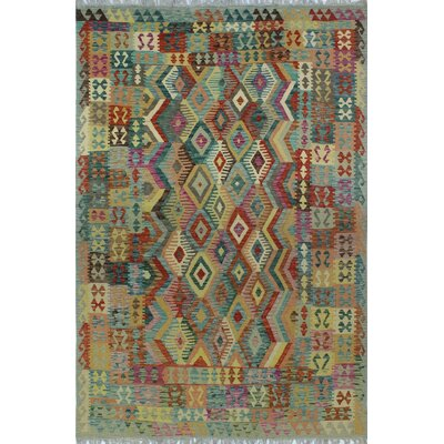 One-of-a-Kind Kratzerville Kilim Finlay�Hand-Woven Wool Gold Area Rug