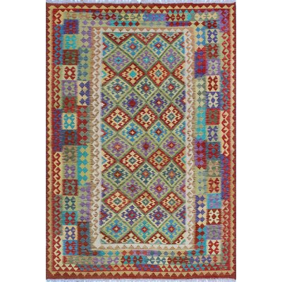 One-of-a-Kind Kratzerville Kilim Hugo Hand-Woven Wool Green Area Rug