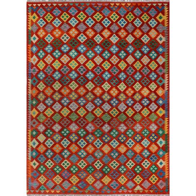 One-of-a-Kind Kratzerville Kilim Poppy�Hand-Woven Wool Red Area Rug
