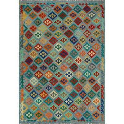 One-of-a-Kind Kratzerville Kilim Ava Hand-Woven Wool Blue Area Rug