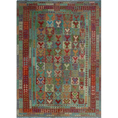 One-of-a-Kind Kratzerville Kilim Alex Hand-Woven Wool Brown Area Rug