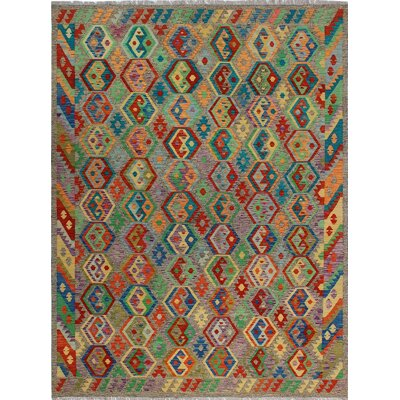 One-of-a-Kind Kratzerville Kilim Lily Hand-Woven Wool Brown Area Rug