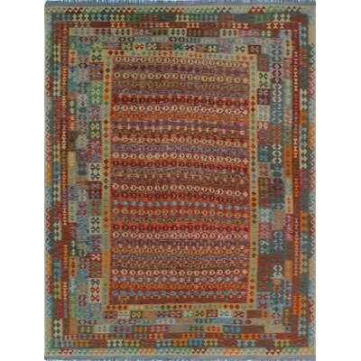 One-of-a-Kind Kratzerville Kilim Kai Hand-Woven Wool Rust Area Rug