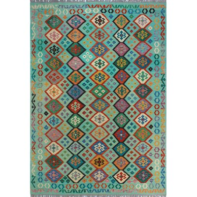 One-of-a-Kind Kratzerville Kilim Sophia�Lt. Hand-Woven Wool Green Area Rug