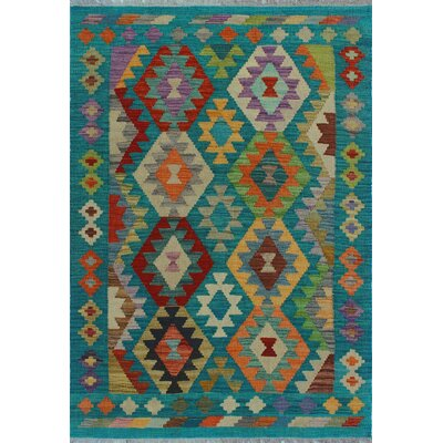 One-of-a-Kind Kratzerville Kilim Cindy Hand-Woven Wool Green Area Rug