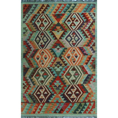 One-of-a-Kind Kratzerville Kilim Yoselin Hand-Woven Wool Green Area Rug