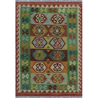 One-of-a-Kind Kratzerville Kilim Terrence Hand-Woven Wool Burgundy Area Rug