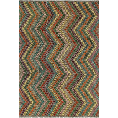 One-of-a-Kind Kratzerville Kilim Scarlett Hand-Woven Wool Brown Area Rug