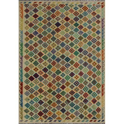 One-of-a-Kind Kratzerville Kilim Isabelle Hand-Woven Wool Ivory Area Rug