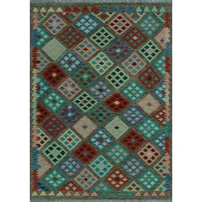 One-of-a-Kind Kratzerville Kilim Donte Hand-Woven Wool Green Area Rug