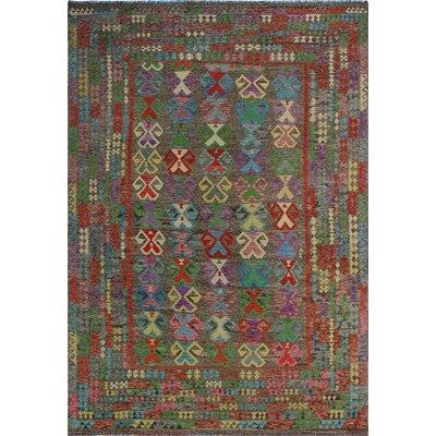 One-of-a-Kind Kratzerville Kilim Sienna Hand-Woven Wool Brown Area Rug