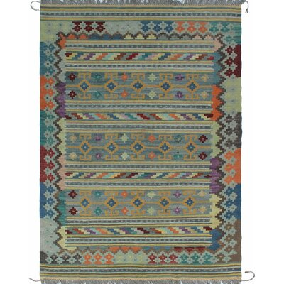 One-of-a-Kind Kratzerville Kilim Clarence Hand-Woven Wool Gray Area Rug