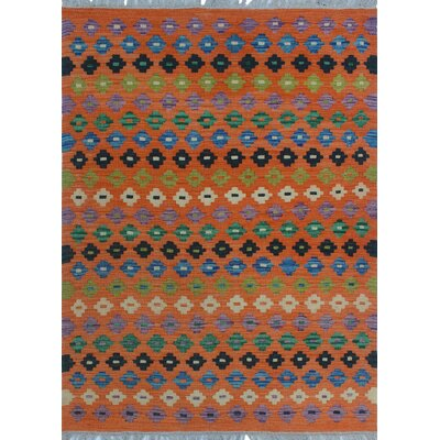 One-of-a-Kind Kratzerville Kilim Lacy Hand-Woven Wool Orange Area Rug