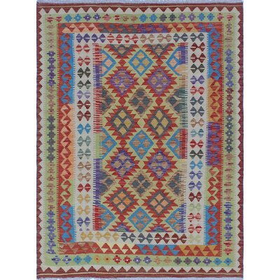 One-of-a-Kind Kratzerville Kilim Lisa Hand-Woven Wool Red Area Rug