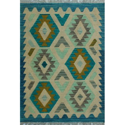 One-of-a-Kind Kratzerville Kilim Laurel Hand-Woven Wool Ivory Area Rug