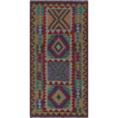 One-of-a-Kind Kratzerville Kilim Dorothy Hand-Woven Wool Red Area Rug