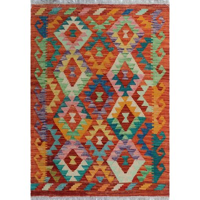 One-of-a-Kind Kratzerville Kilim Lara Hand-Woven Wool Red Area Rug