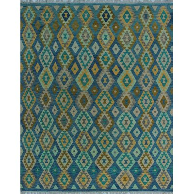 One-of-a-Kind Kratzerville Kilim Mandy Hand-Woven Wool Blue Area Rug