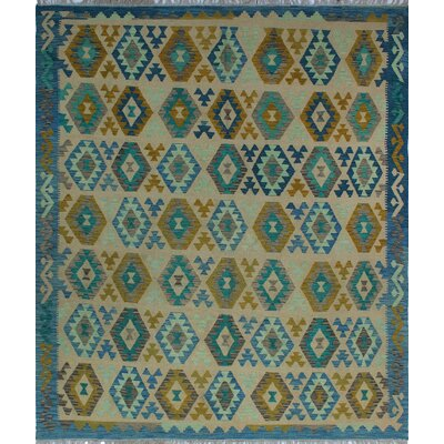 One-of-a-Kind Kratzerville Kilim Bastian Hand-Woven Wool Blue Area Rug