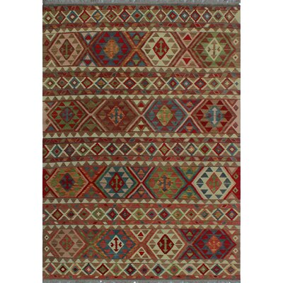 One-of-a-Kind Kratzerville Kilim Lina Hand-Woven Wool Ivory Area Rug