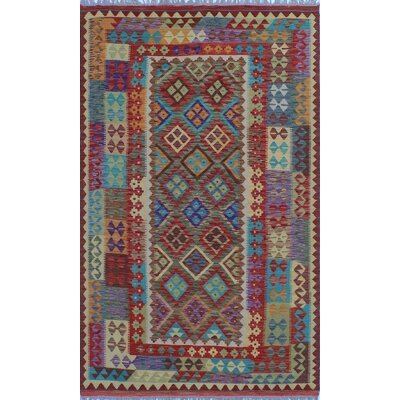 One-of-a-Kind Kratzerville Kilim Ashley Hand-Woven Wool Red Area Rug