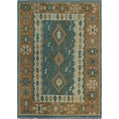 One-of-a-Kind Kratzerville Kilim Genesis Hand-Woven Wool Blue Area Rug