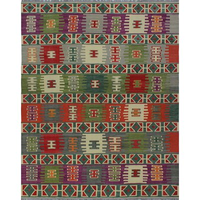 One-of-a-Kind Kratzerville Kilim Vivian Hand-Woven Wool Ivory Area Rug
