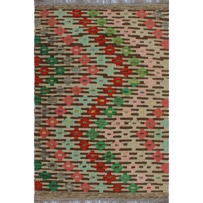 One-of-a-Kind Kratzerville Kilim Rose Hand-Woven Wool Beige Area Rug