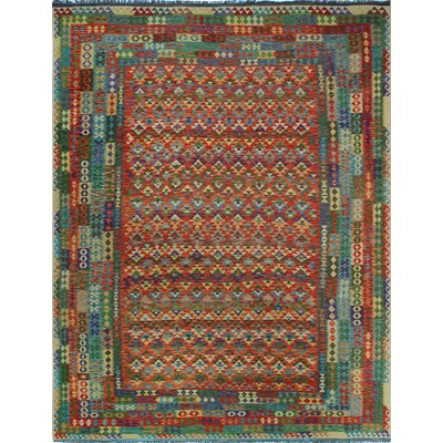 One-of-a-Kind Kratzerville Kilim Maximillian Hand-Woven Wool Red Area Rug