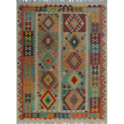 One-of-a-Kind Kratzerville Kilim Celeste Hand-Woven Wool Ivory Area Rug