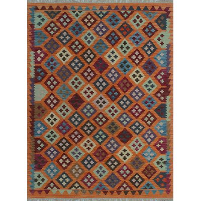 One-of-a-Kind Kratzerville Kilim Agustin Hand-Woven Wool Orange Area Rug
