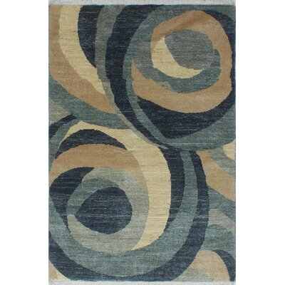 One-of-a-Kind Settles Modern Michelle Hand-Knotted Wool Ivory Area Rug
