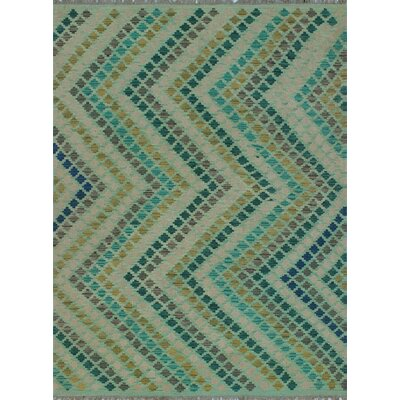 One-of-a-Kind Kratzerville Kilim Junior Hand-Woven Wool Green Area Rug