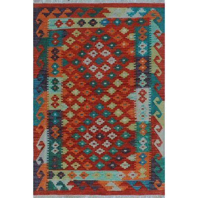 One-of-a-Kind Kratzerville Kilim Ama Hand-Woven Wool Purple Area Rug