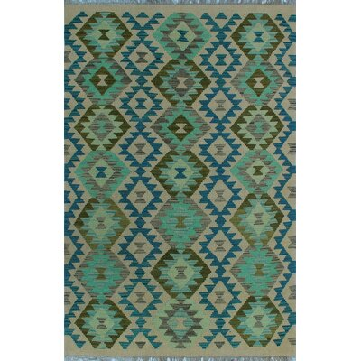 One-of-a-Kind Kratzerville Kilim Bianca Hand-Woven Wool Green Area Rug