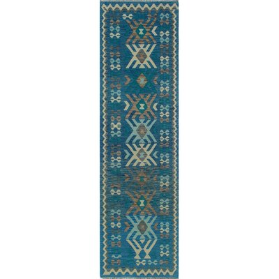One-of-a-Kind Kratzerville Kilim Augustus Hand-Woven Wool Blue Area Rug