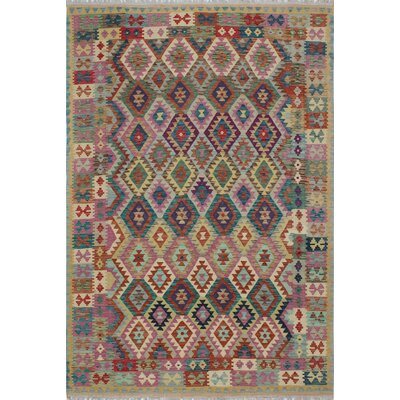 One-of-a-Kind Kratzerville Kilim Valery Hand-Woven Wool Ivory Area Rug