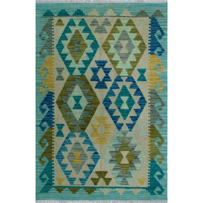 One-of-a-Kind Kratzerville Kilim Trinity Hand-Woven Wool Ivory Area Rug