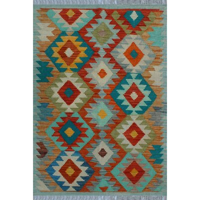 One-of-a-Kind Kratzerville Kilim Carmine Hand-Woven Wool Rust Area Rug