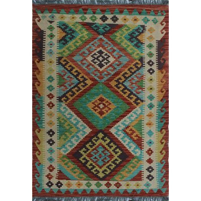 One-of-a-Kind Kratzerville Kilim Sabrina Hand-Woven Wool Green Area Rug
