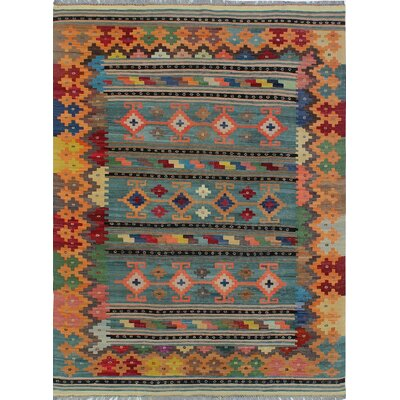 One-of-a-Kind Kratzerville Kilim Chasity Hand-Woven Wool Gray Area Rug