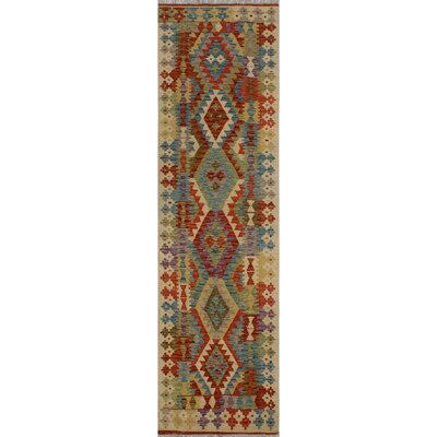 One-of-a-Kind Kratzerville Kilim Ogbonna Hand-Woven Wool Beige Area Rug
