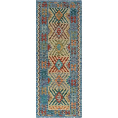 One-of-a-Kind Kratzerville Kilim Okpara Hand-Woven Wool Blue Area Rug