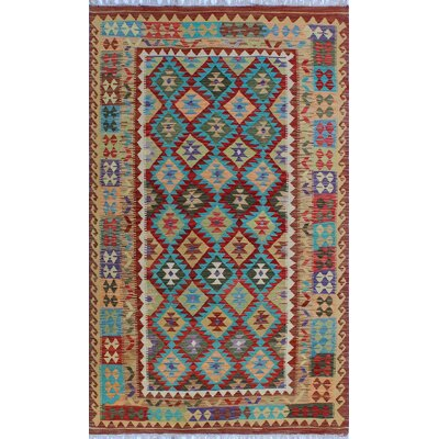 One-of-a-Kind Kratzerville Kilim Akosua Hand-Woven Wool Red Area Rug