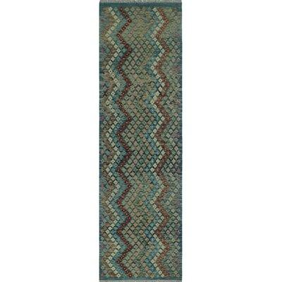 One-of-a-Kind Kratzerville Kilim Kuliraga Hand-Woven Wool Blue Area Rug