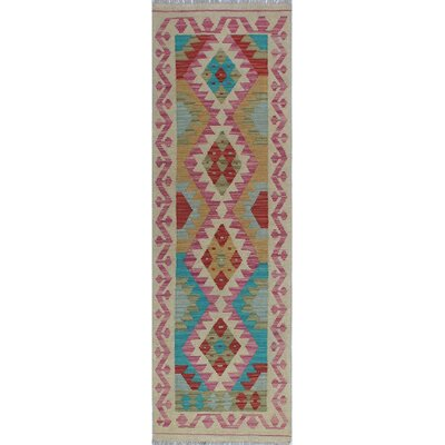 One-of-a-Kind Kratzerville Kilim Subira Hand-Woven Wool Beige Area Rug