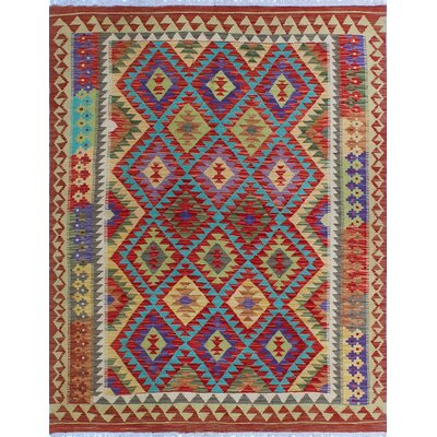 One-of-a-Kind Kratzerville Kilim Nneka Hand-Woven Wool Red Area Rug
